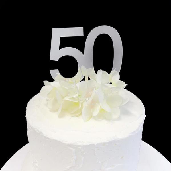 Acrylic Cake Topper '50' 8.5cm - SILVER