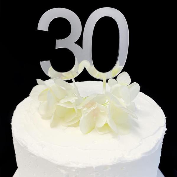Acrylic Cake Topper '30' 8.5cm - SILVER