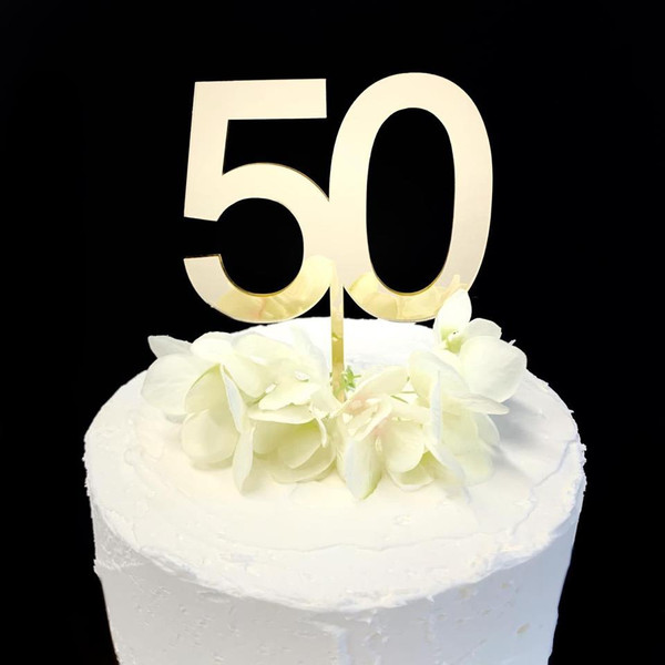Acrylic Cake Topper '50' 8.5cm - GOLD