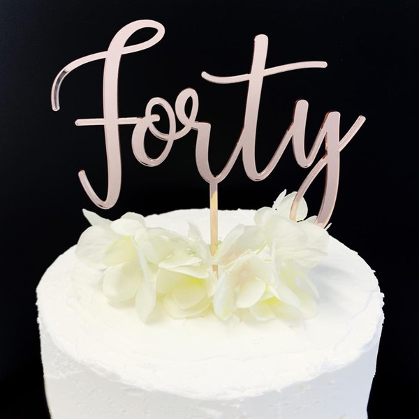 Acrylic Cake Topper 'Forty' - Rose Gold