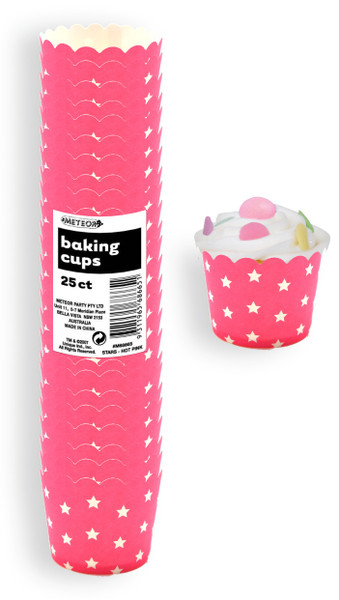 Baking Cups 25pc - STARS / PINK