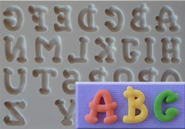 Groovy Uppercase Alphabet Silicone Mold