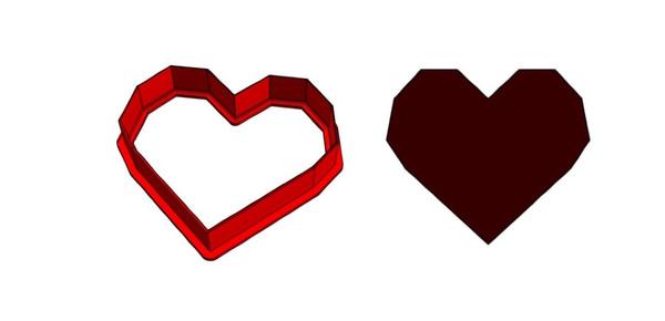 Plastic Cookie Cutter - Geometric Heart