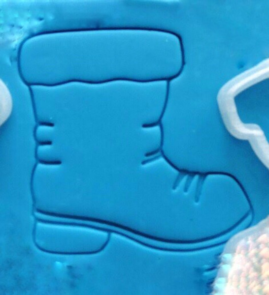 Plastic Cookie Cutter and Embosser - Santa Boot 3pc Set