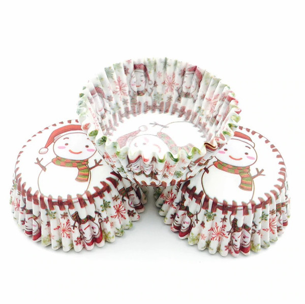 Cupcake Cases 100pc - Christmas Snowman