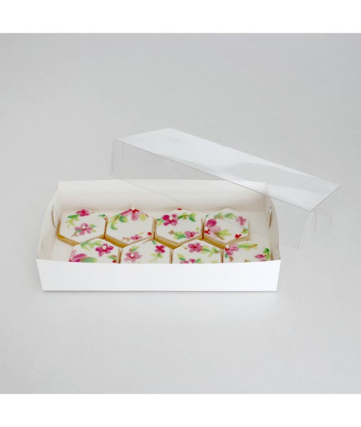 """CLEAR LID BISCUIT BOX RECTANGLE 9""""x4.5""""x1.5"""""""