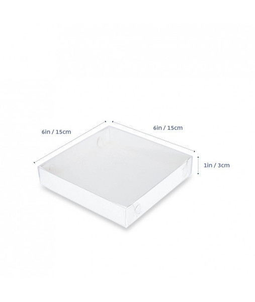 "CLEAR LID BISCUIT BOX SQUARE 6""x6""x1"""