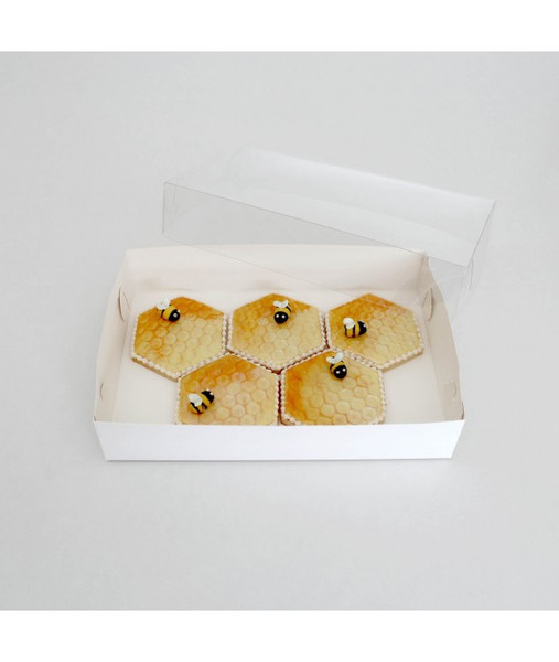"""CLEAR LID BISCUIT BOX RECTANGLE 10""""x7""""x2"""""""