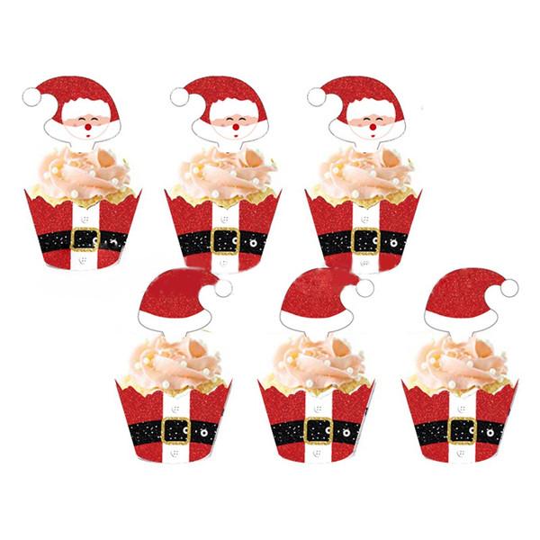 Cupcake Wrap & Toppers 12pc - SANTA