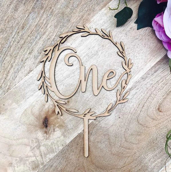 Cake Topper 'ONE' with Wreath- BAMBOO