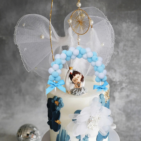 Baby Blue Soft Pompom Cake Topper