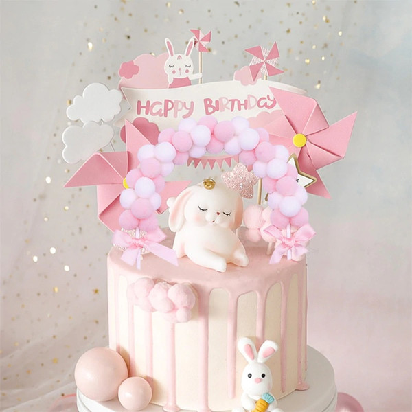Baby Pink Soft Pompom Cake Topper