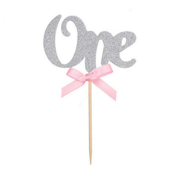 "Cupcake Toppers 6pc - Silver With Pink Bow "" ONE """