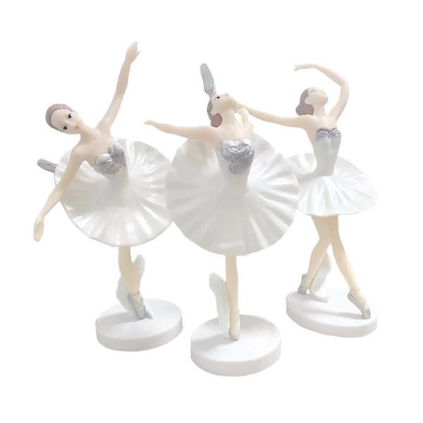 Dancing Ballerina Figurines Cake Topper 3pc set-White