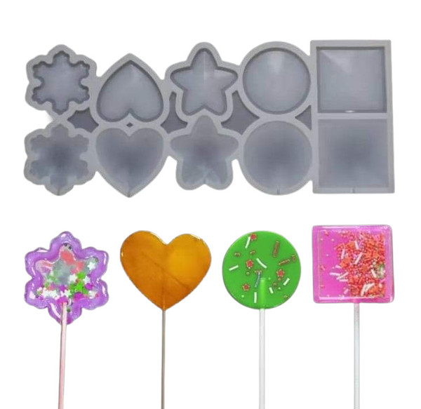 Assorted Shapes Lollipop/Candy 10 Cavity Silicone Mold