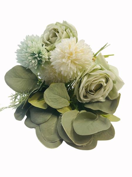 Chrysanthemum and Rose Bouquet-Pastel Green