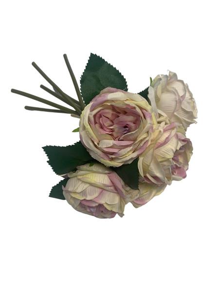 Cabbage Rose Bouquet-Mauve &Yellow