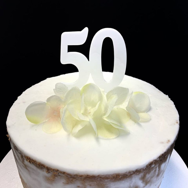 Acrylic Cake Topper '50' - WHITE