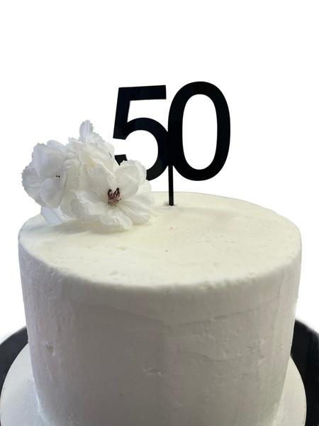 Acrylic Cake Topper '50' 7cm - BLACK