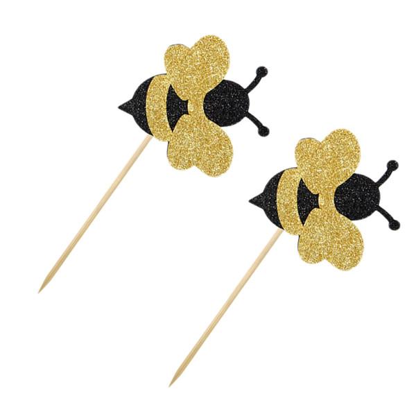 Cupcake Topper 6pc -Glittery Bumble Bee