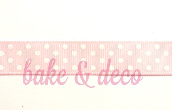 Baby Pink Polkadot Ribbon 15mm