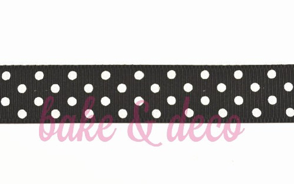 Black Polkadot Ribbon 15mm