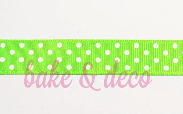 Electric Green Polkadot Ribbon 15mm