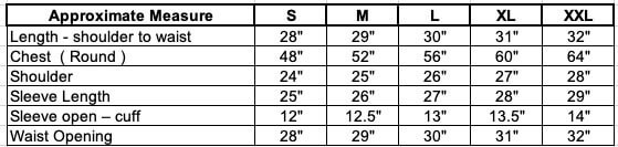 bee jackets cheap size chart