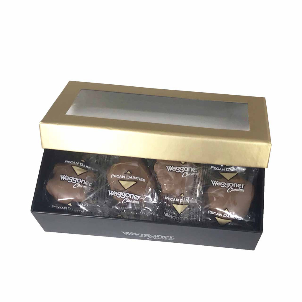 PECAN DAINTIES GOLD WINDOW GIFT BOX 8 OZ.