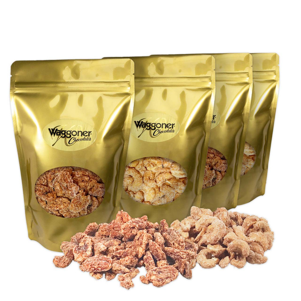 FROSTED PECANS & CASHEWS - SET OF 4 - 12 OZ. GIFT BAGS