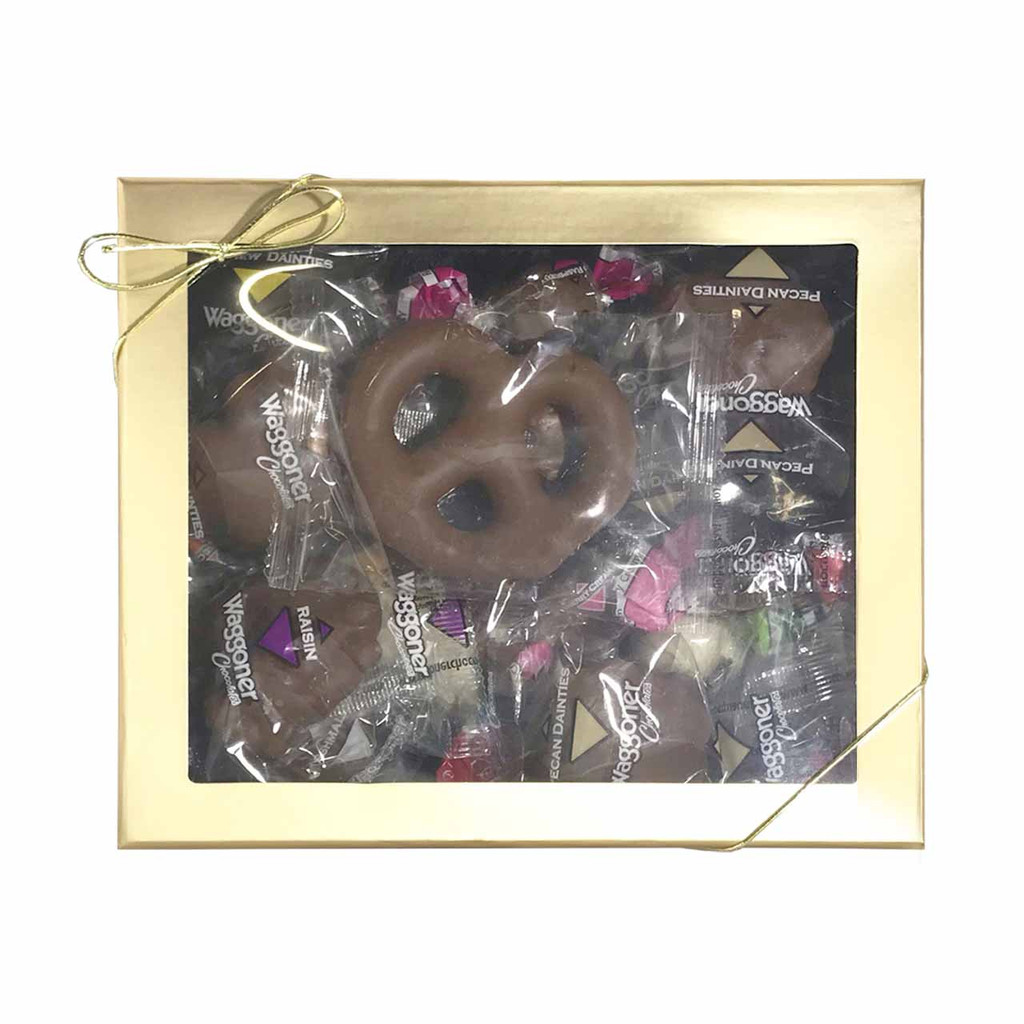 ASSORTED WRAPPED CHOCOLATE GOLD WINDOW GIFT BOX 16 OZ.