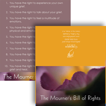 The Mourner's Bill of Rights Wallet Cards