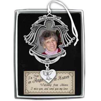 Forever in Our Hearts Angel Photo Ornament w/White Ribbon