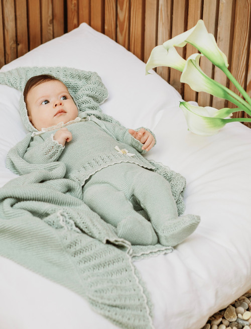 Green Knitted Babysuit