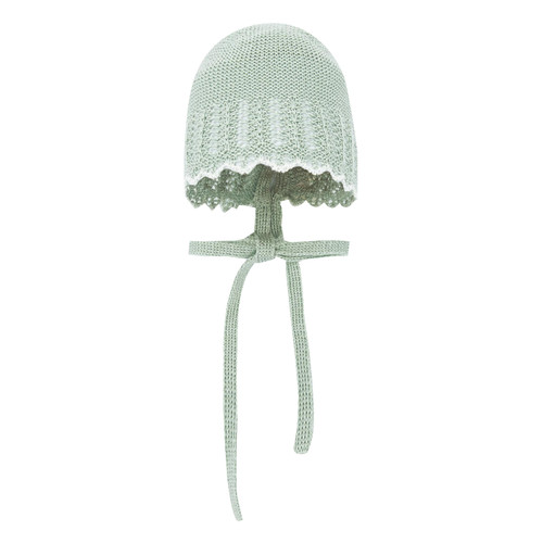 Green Knitted Baby Bonnet