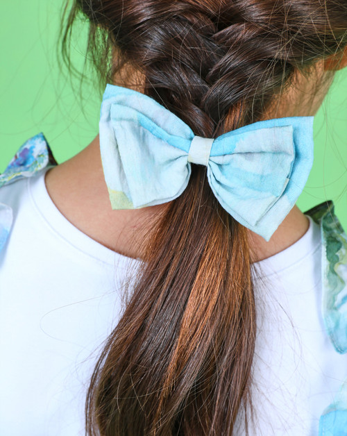 Girls Blue Floral Bow