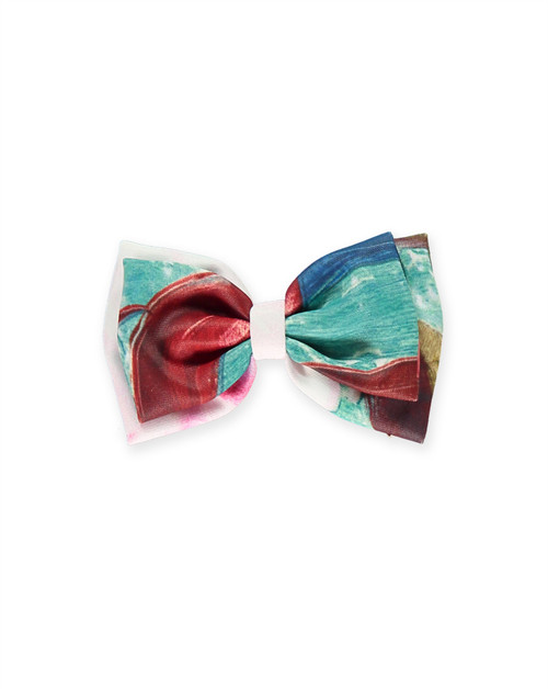 Girl Green & Pink Roses Bow