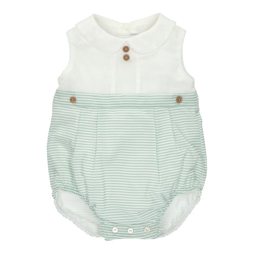 White & Green Baby Dungarees