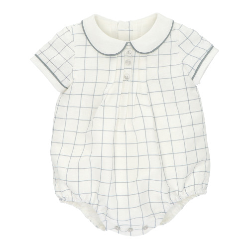 White & Grey Check Baby Dungarees