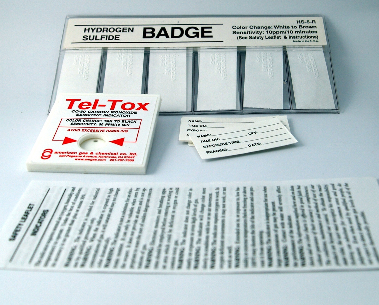 HS-5K Hydrogen Sulfide Color Change Badge Kit