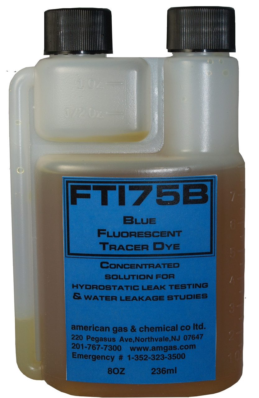 FT175B-45 Blue Fluorescent Water Additive Tracer Dye (8oz twin necked bottle)