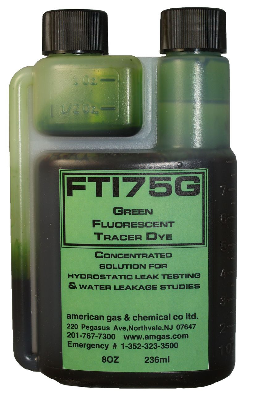 FT175G-45 Green Fluorescent Water Additive Tracer Dye (8oz twin necked bottle)