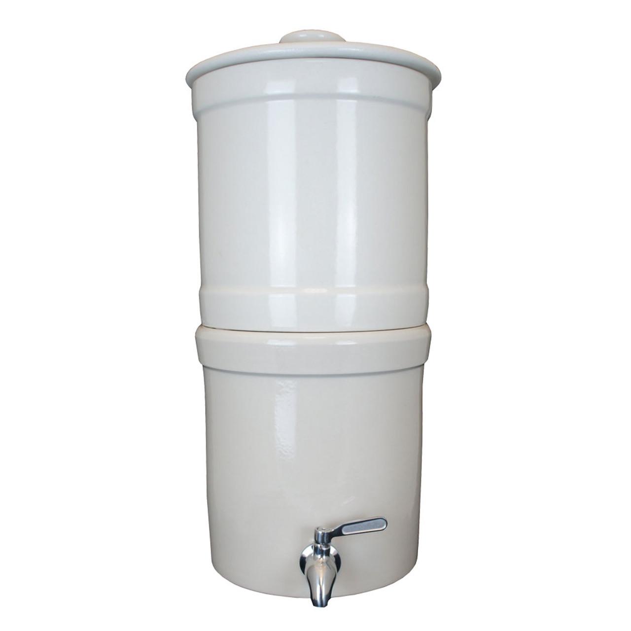 "AquaCera Terra2 White Stoneware Gravity Filter w/(2) CeraPlus 7"" Filters W9372210"