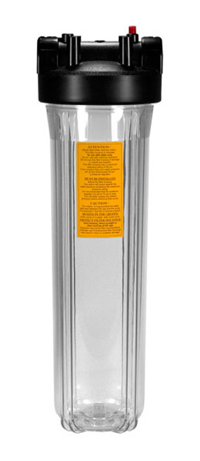 "Kemflo 20"" Full Flow Clear Filter Housing w/Pressure Relief 1"""