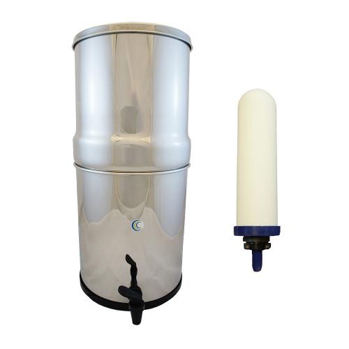 """AquaCera SS-4 Pioneer Gravity Fed Filter System w/ (4) CeraMetix 7"""" Filters W9371835"""