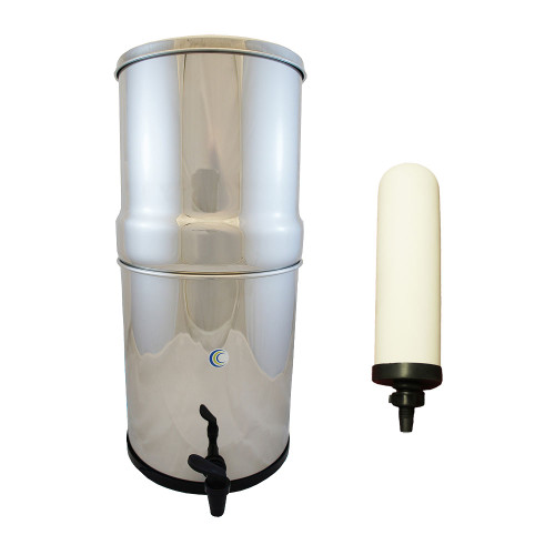"AquaCera SS-4 Pioneer Gravity Fed Filter System w/ (4) CeraPlus 7"" Filters W9371815"