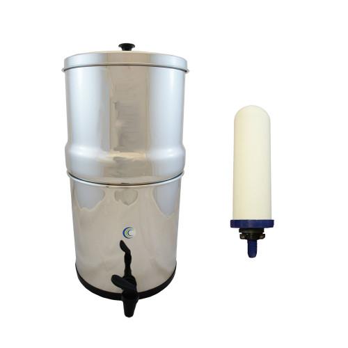 """AquaCera Traveler XL Gravity Fed Filter System w/ (2) CeraMetix 7"""" Filters W9371230"""