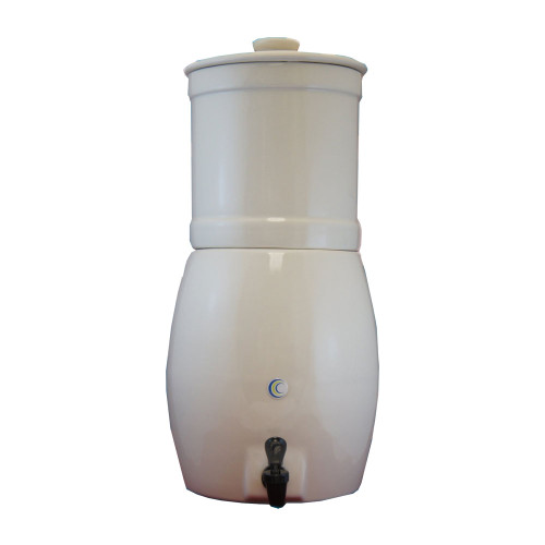 "AquaVas White Stoneware Gravity Filter w/(2) Imperial CeraMetix 7"" Filters W9371440"
