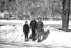 Dean, Brian, and Marilyn ready to go skiing in 1966 with the ballpark that was directly across from their house.