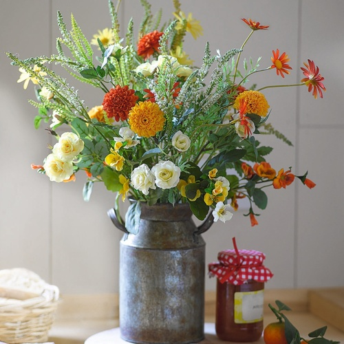 Sunny Marigold Arrangement in Mini Milk Churn